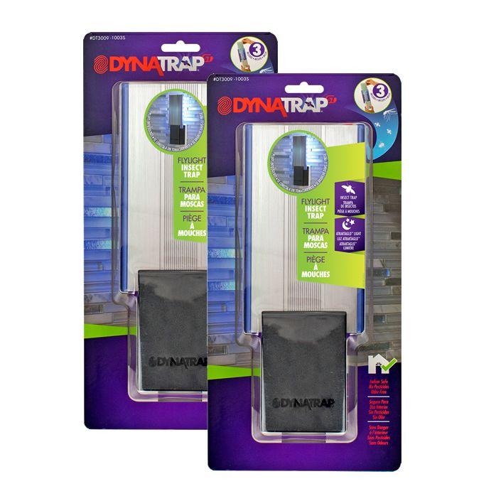 DynaTrap® Armadilha para insectos Flylight, Pacote de 2 com 2 Lâmpadas Extra - Preto